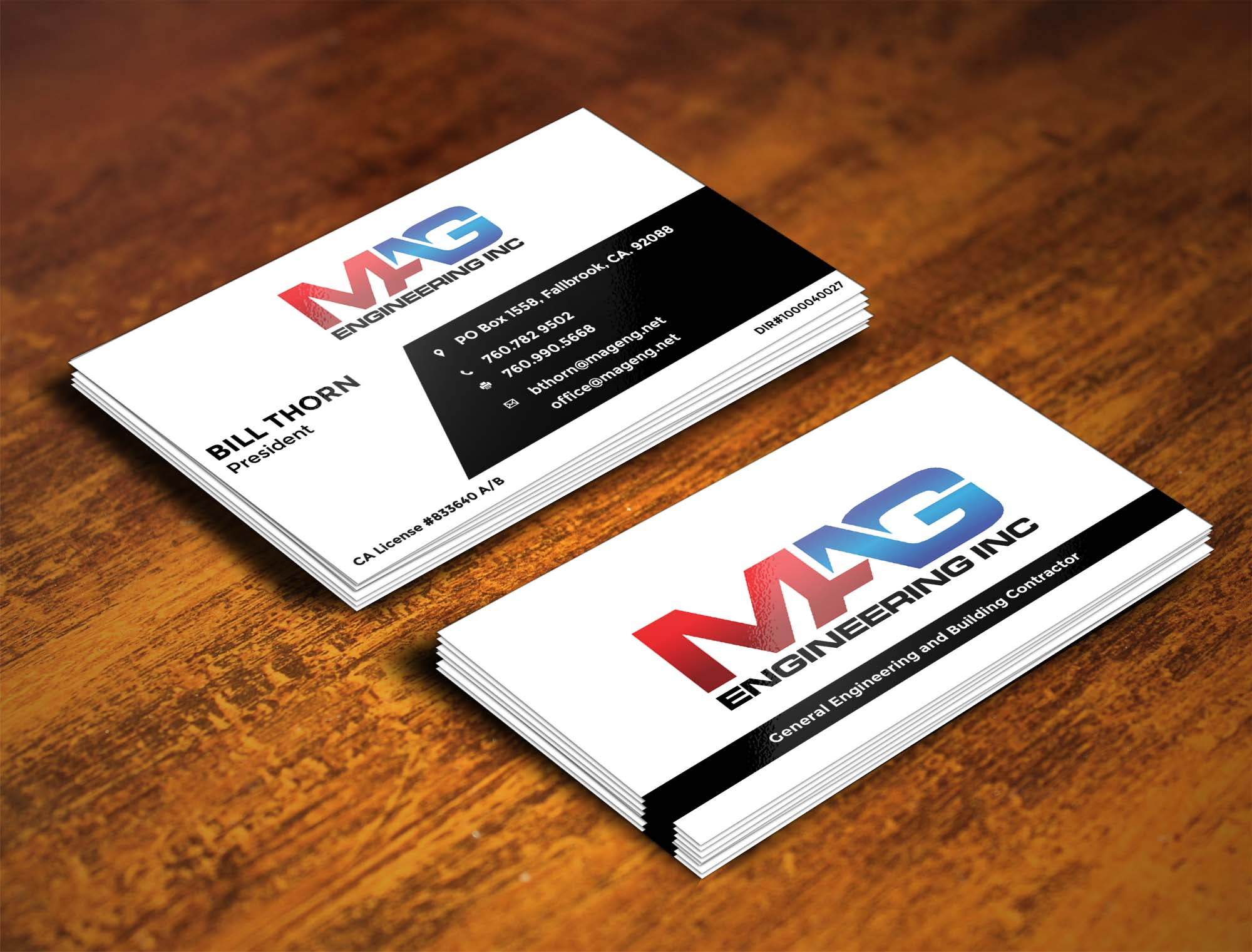 business cards for mag engineering inc