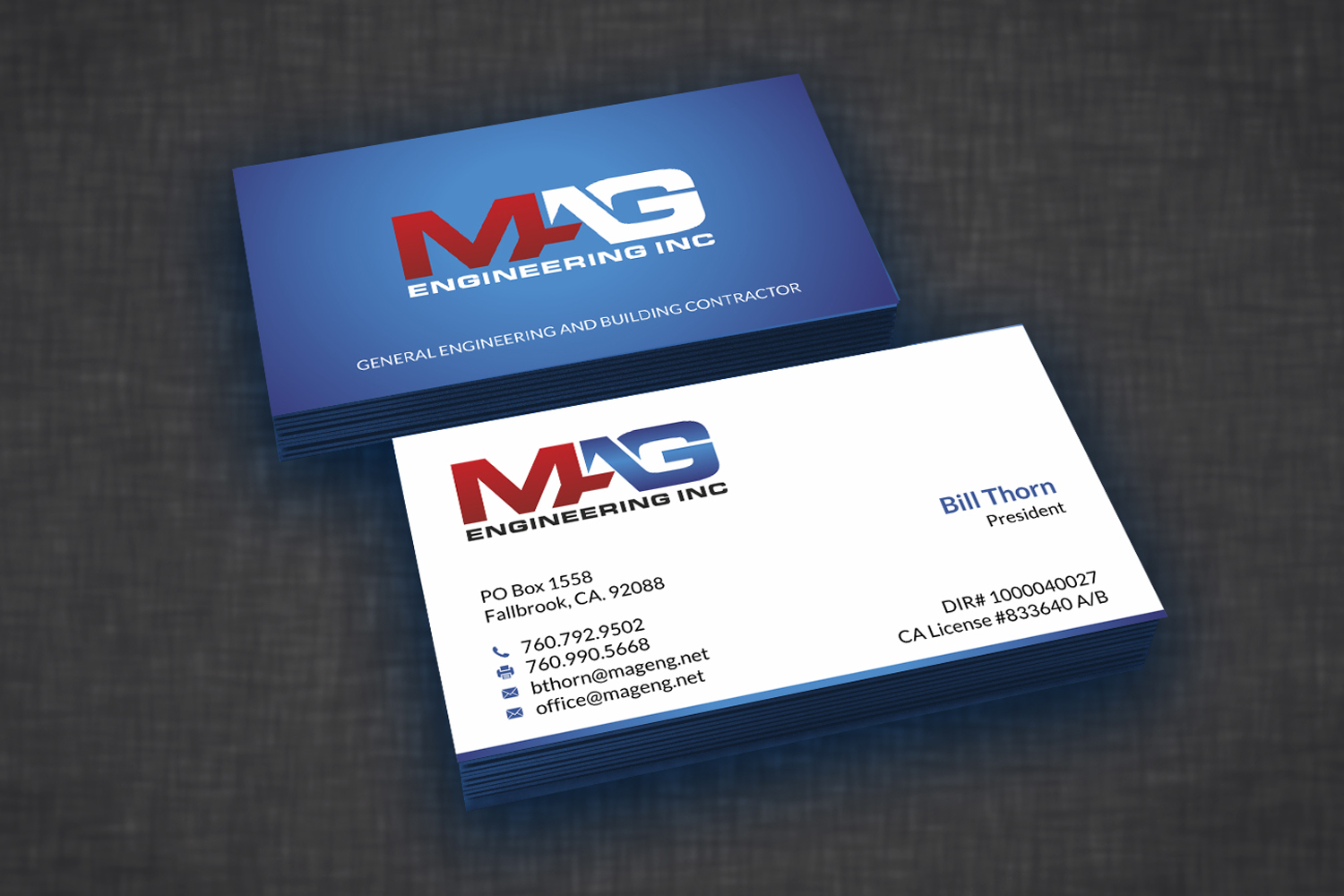 Business cards for MAG Engineering Inc | 110Designs