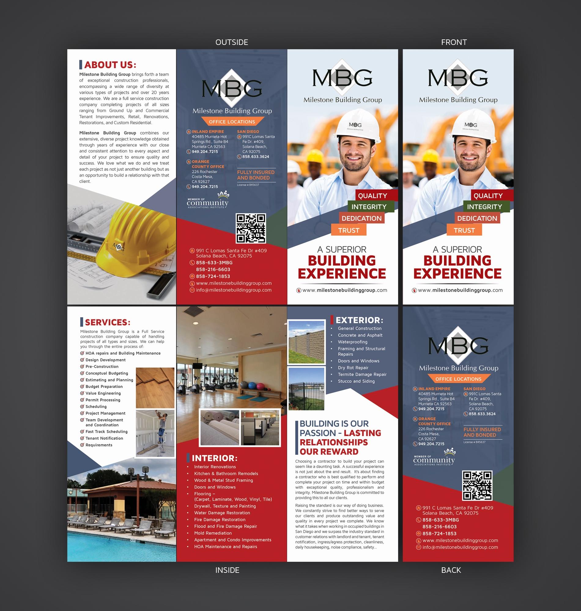 Construction Company Tri Fold Brochure 110designs